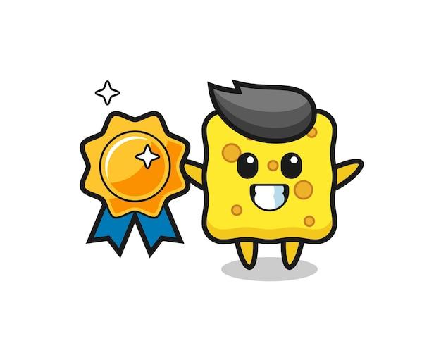 Ilustração do mascote da esponja segurando um emblema dourado, design de estilo fofo para camiseta, adesivo, elemento de logotipo