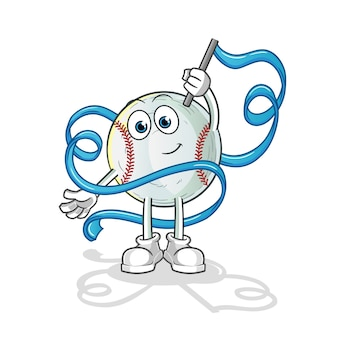 Ilustração do mascote da ginástica rítmica de beisebol