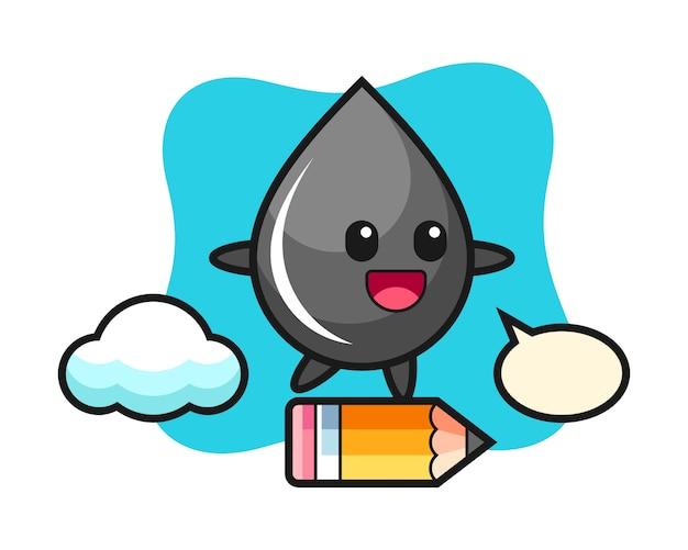 Ilustração do mascote da gota de óleo andando em um lápis gigante