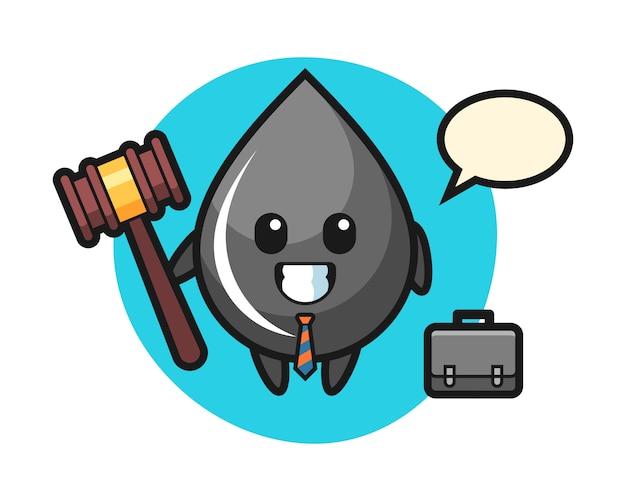 Ilustração do mascote da gota de óleo como advogado