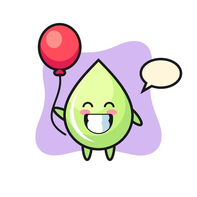 Ilustração do mascote da gota de suco de melão jogando balão, design de estilo fofo para camiseta, adesivo, elemento de logotipo