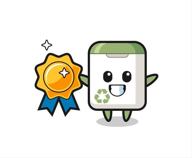 Ilustração do mascote da lata de lixo segurando um emblema dourado, design de estilo fofo para camiseta, adesivo, elemento de logotipo