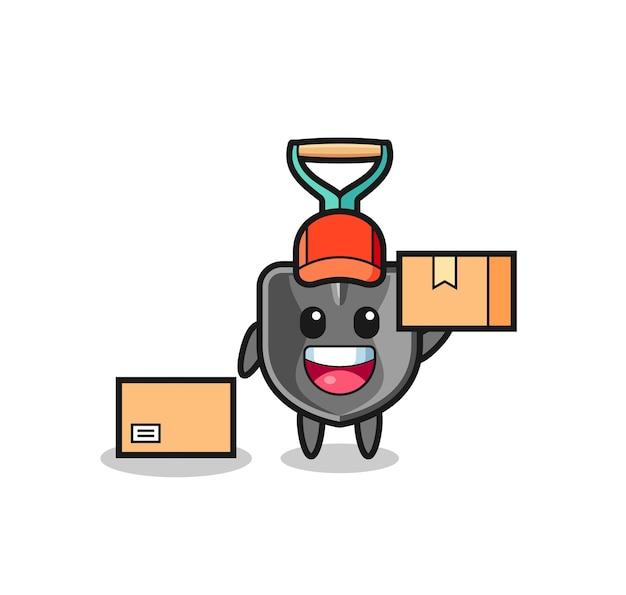 Ilustração do mascote da pá como mensageiro, design fofo