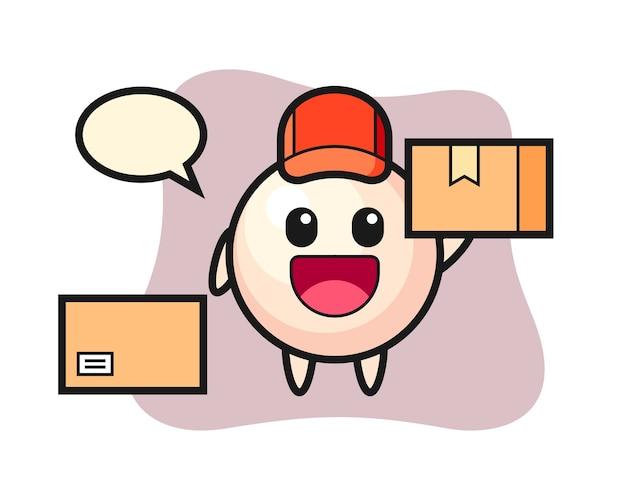Ilustração do mascote da pérola como mensageiro