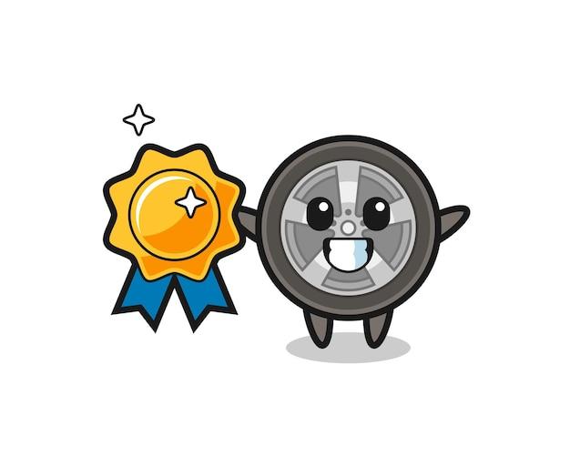 Ilustração do mascote da roda de carro segurando um emblema dourado, design de estilo fofo para camiseta, adesivo, elemento de logotipo