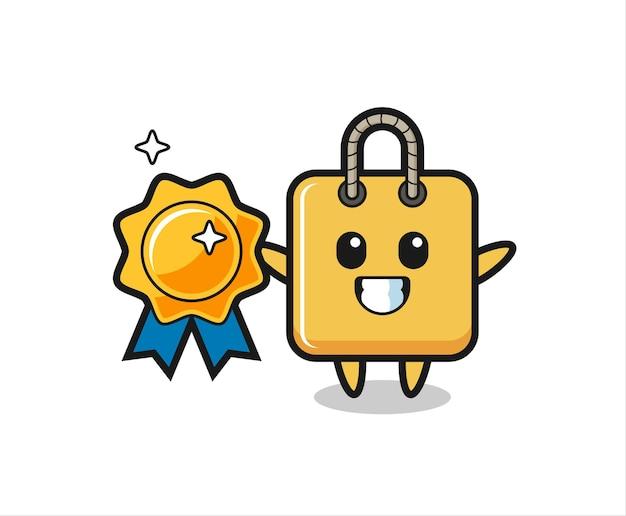 Ilustração do mascote da sacola de compras segurando um distintivo dourado, design de estilo fofo para camiseta, adesivo, elemento de logotipo