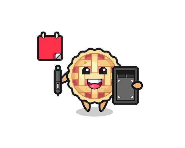 Ilustração do mascote da torta de maçã como designer gráfico, design de estilo fofo para camiseta, adesivo, elemento de logotipo