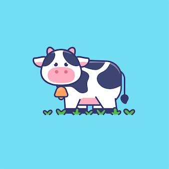 Ilustração do mascote da vaca fofa
