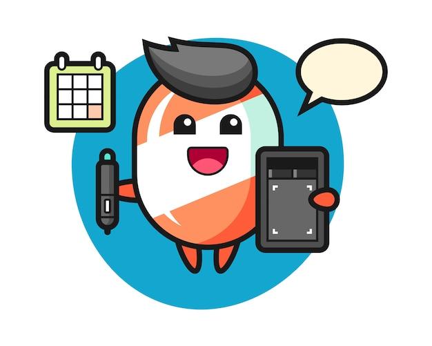 Ilustração do mascote de doces como designer gráfico