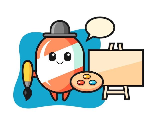 Ilustração do mascote de doces como pintor