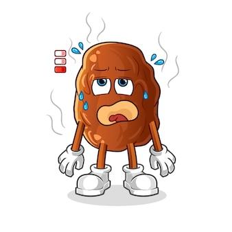 Ilustração do mascote de fruta com bateria fraca