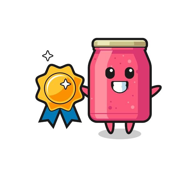 Ilustração do mascote de geleia de morango segurando um distintivo dourado, design fofo