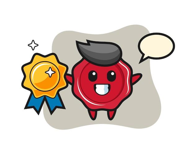 Ilustração do mascote de lacre segurando um emblema dourado