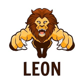 Ilustração do mascote de leão zangado