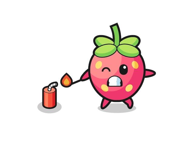 Ilustração do mascote de morango jogando foguete, design fofo