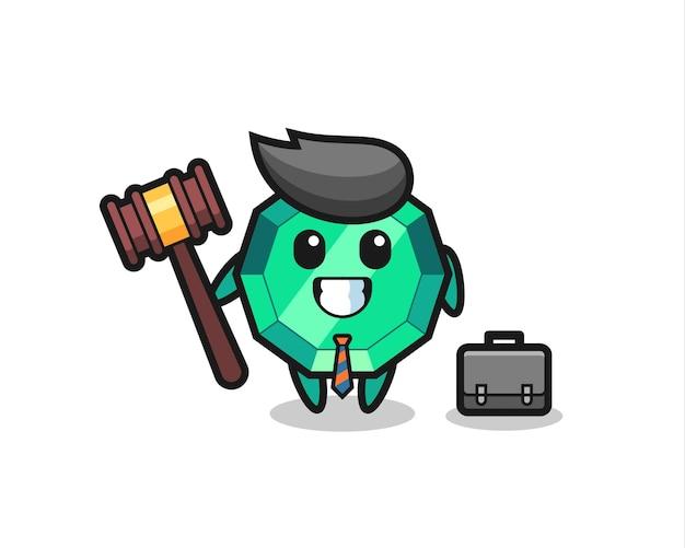 Ilustração do mascote de pedra esmeralda como advogado, design de estilo fofo para camiseta, adesivo, elemento de logotipo