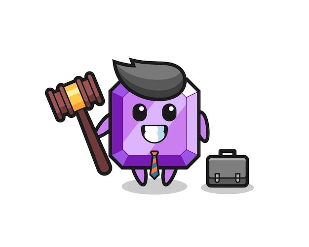 Ilustração do mascote de pedra preciosa roxa como um advogado, design de estilo fofo para camiseta, adesivo, elemento de logotipo