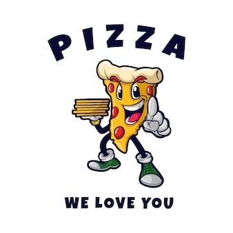 Ilustração do mascote de pizza nós amamos você
