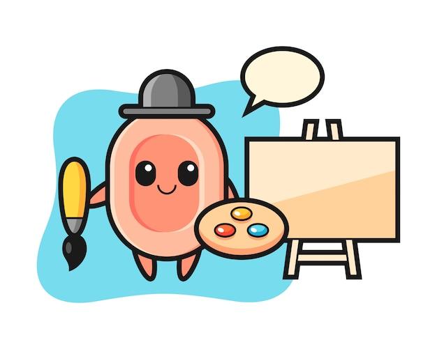 Ilustração do mascote de sabão como pintor, estilo bonito para camiseta, adesivo, elemento do logotipo