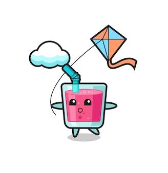 Ilustração do mascote de suco de morango está jogando pipa, design de estilo fofo para camiseta, adesivo, elemento de logotipo