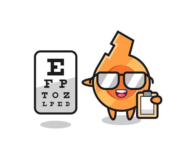 Ilustração do mascote do apito como oftalmologia, design fofo