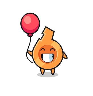 Ilustração do mascote do apito jogando balão, design fofo