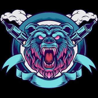Ilustração do mascote do bear head vape