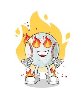 Ilustração do mascote do beisebol em chamas