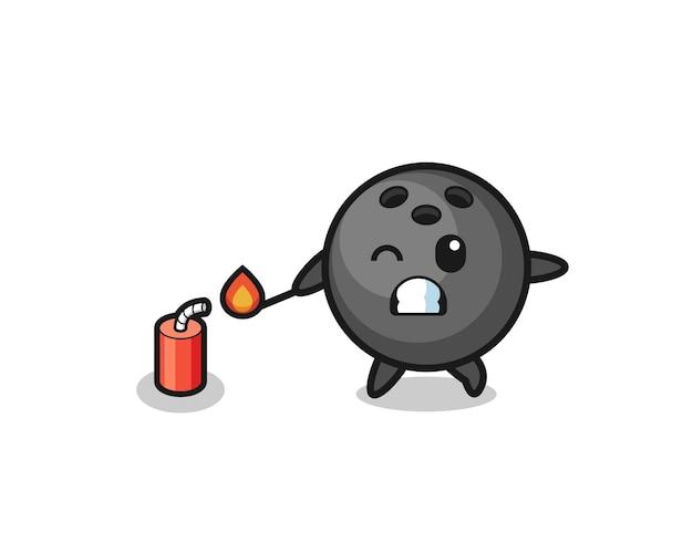 Ilustração do mascote do boliche jogando fogo de artifício, design fofo