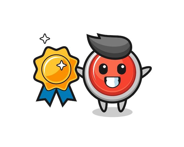 Ilustração do mascote do botão de pânico de emergência segurando um emblema dourado, design fofo