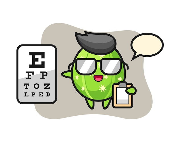 Ilustração do mascote do cacto como oftalmologia