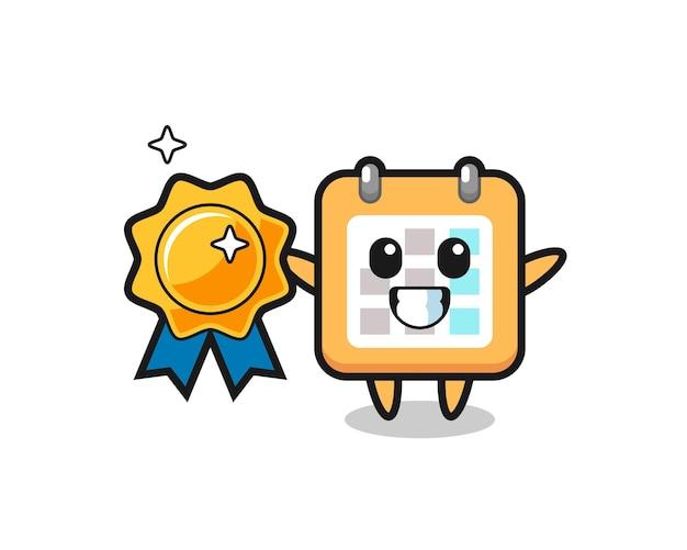 Ilustração do mascote do calendário segurando um emblema dourado, design de estilo fofo para camiseta, adesivo, elemento de logotipo