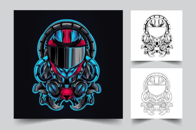 Ilustração do mascote do capacete mecha