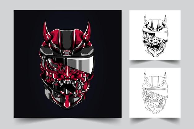 Ilustração do mascote do capacete ronin