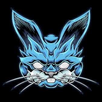 Ilustração do mascote do coelho azul