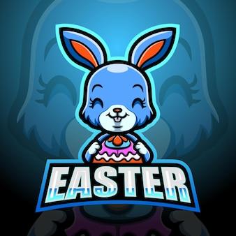 Ilustração do mascote do coelho da páscoa esport