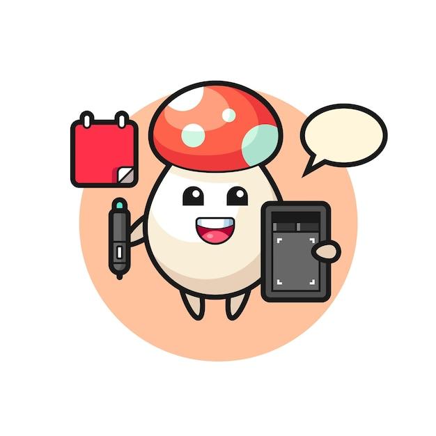 Ilustração do mascote do cogumelo como designer gráfico, design de estilo fofo para camiseta, adesivo, elemento de logotipo