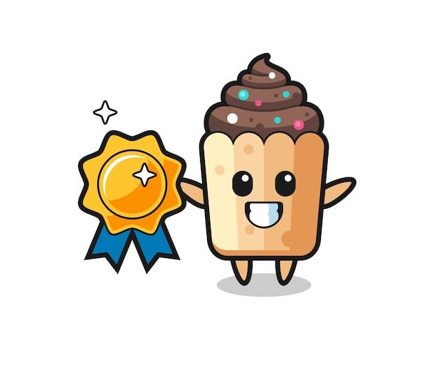 Ilustração do mascote do cupcake segurando um distintivo dourado, design fofo