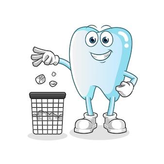 Ilustração do mascote do dente jogando lixo na lata de lixo