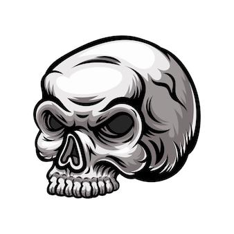 Ilustração do mascote do design do logotipo do crânio