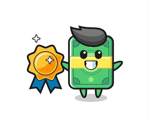 Ilustração do mascote do dinheiro segurando um distintivo dourado, design de estilo fofo para camiseta, adesivo, elemento de logotipo
