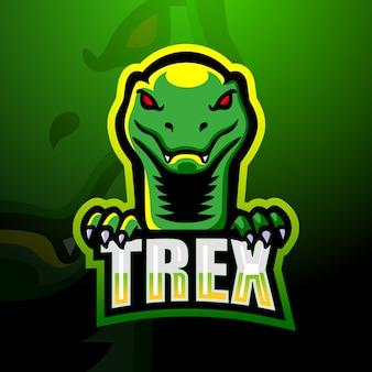 Ilustração do mascote do dinossauro trex