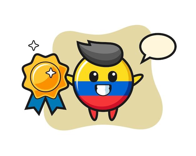 Ilustração do mascote do distintivo da bandeira da colômbia segurando um distintivo dourado, design de estilo fofo para camiseta, adesivo, elemento de logotipo