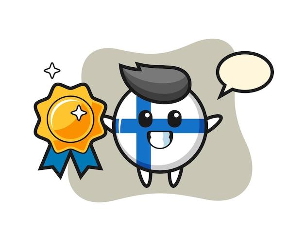 Ilustração do mascote do distintivo da bandeira da finlândia segurando um distintivo dourado, design de estilo fofo para camiseta, adesivo, elemento de logotipo