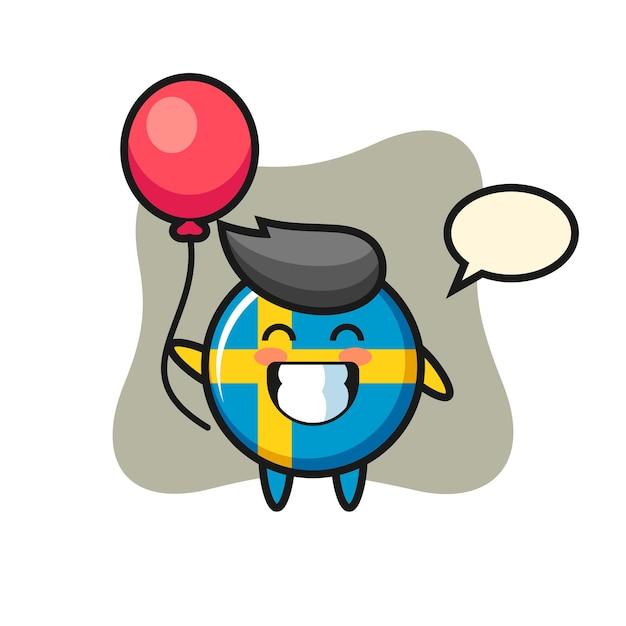 Ilustração do mascote do emblema da bandeira da suécia está jogando balão, design de estilo fofo para camiseta, adesivo, elemento de logotipo