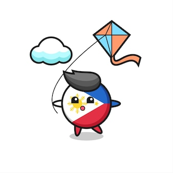 Ilustração do mascote do emblema da bandeira das filipinas é jogar pipa, design de estilo fofo para camiseta, adesivo, elemento de logotipo