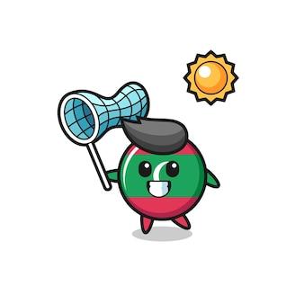Ilustração do mascote do emblema da bandeira das maldivas