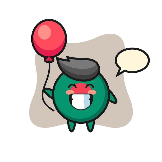 Ilustração do mascote do emblema da bandeira de bangladesh está jogando balão, design de estilo fofo para camiseta, adesivo, elemento de logotipo