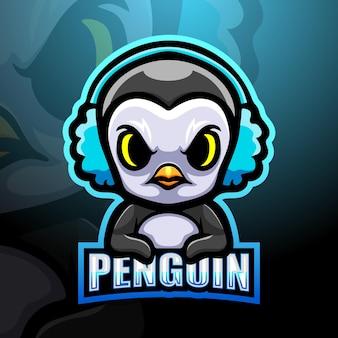 Ilustração do mascote do gamer penguin