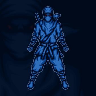 Ilustração do mascote do guerreiro ninja furioso